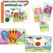 Puzzle 3 pièces Mix Animo, en carton - Lot de 8