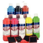 """Peinture acrylique """"ULTRA GLOSS"""", couleurs classiques - Coffret de 8 flacons 500 ml"""