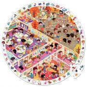 Puzzle d'observation rond de 208 pièces - L'école