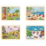 Puzzles à cadre en bois 15 pièces, LES SAISONS - Lot de 4
