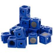 Cubes magnétiques emboîtables 3.4cm bleu - Sachet de 20