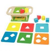 Etabli des formes à trier en bois, 15 pièces