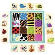 Plateau en bois, 16 pièces à encastrer, textures animaux