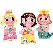 Puzzles magnétiques 3 pièces, les princesses - Lot de 3