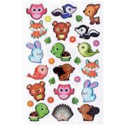 Stickers 3D métallisés animaux - Sachet de 81