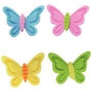 Déco en feutrine adhésives, thème fleurs et papillons - Sachet de 24