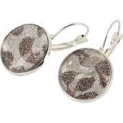 Boucles d'oreilles argentées avec 10 cabochons en verre - Sachet de 10