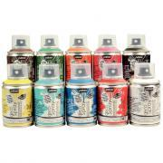 Peinture acrylique en spray 100ml - Lot de 10
