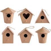 Nichoirs à oiseaux, en carton épais - Lot de 6
