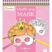 Carnet de 24 masques en carton thème fille à décorer
