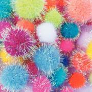 Pompon irisés, tailles et couleurs assorties - Sachet de 200