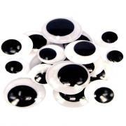 Yeux maxi noirs, diamètres : 20, 25 et 30 mm x 3 paires - Sachet de 18