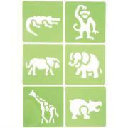 """Pochoirs """"Les animaux de la jungle"""" - Paquet de 6"""