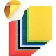 Coupon de feutrine adhésive format 20 x 30 cm, coloris assortis pailletés - Paquet de 10