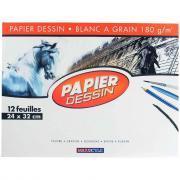 Papier dessin 180g 24x32 blanc - Pochette de 12 feuilles