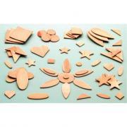 Formes fantaisies et géométriques en bois assortie - Sachet de 100