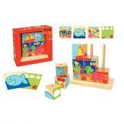 """Abaque en bois de 9 cubes puzzle """"La mer"""""""