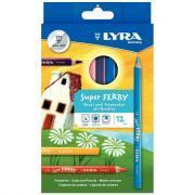 Crayons de couleur Super Ferby triangulaires - Etui de 12