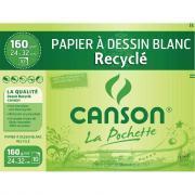 Papier dessin à grain recyclé 160g 24x32 - Pochette de 10