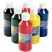 Gouaches acrylique scintillante - Lot de 6 flacons de 250ml