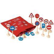 Panneaux de signalisation en bois - Lot de 16