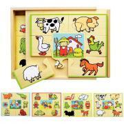 Puzzle en bois de  7 pièces - 4 thématiques - Coffret de 4