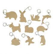 Porte-cles bois animaux - Lot de 10