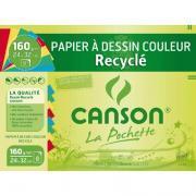 Papier dessin recyclé couleurs vives 24x32 - Paquet de 8 feuilles