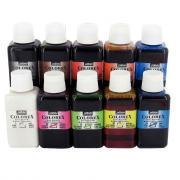 Encre à dessiner Colorex - Couleurs assorties - Lot de 10 flacons de 250ml