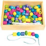 Grosses perles en bois pastel + 10 lacets - Boîte de 130