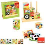 """Abaque en bois de 9 cubes puzzle """"La ferme""""."""