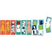 """Puzzle en bois de  3 pièces """"Drôles d'animaux"""" - Boîte de 9"""