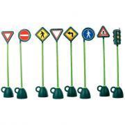 Panneaux routiers + 1 feu tricolore - Lot de 9