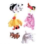 Marionnette à main - 1 coq - 1 cochon - 1 canard - 1 cheval - 1 mouton - 1 vache