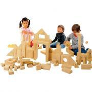 Jeu de construction briques geantes en bois naturel