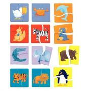"""Puzzle en bois de  2 pièces """"Animaux"""" - Boîte de 12"""