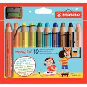 Crayons de couleur aquarellables Woody + Taille-crayon - Etui de 10