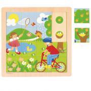 """Puzzles à indice en bois de 16 pièces """"Les 4 saisons"""" - Lot de 4"""