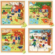 """Puzzle en bois """"Les 4 saisons"""" - Lot de 4"""