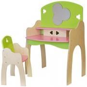 Coiffeuse en bois pour poupées avec sa chaise