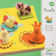 Djeco - Encastrement 3D - Le canard et ses amis