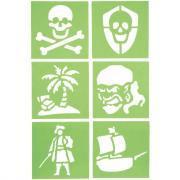 """Pochoirs en plastique """"Pirates"""" - 15x15 cm - Paquet de 6"""
