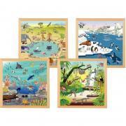 Lot de 4 puzzles en bois 49 pièces, les animaux