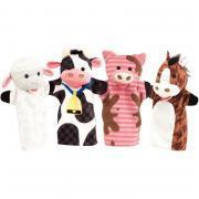 Lot de 4 marionnettes à main - animaux de la ferme