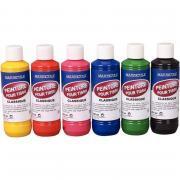 Lot de 6 flacons 250ml peinture textile MAJUSCULE
