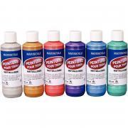 Lot de 6 flacons 250ml peinture textile, couleurs métallisées