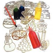 Lot de 24 vitraux de Noël en plastique & vernis