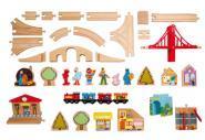 Circuit de train en bois - 116 pièces