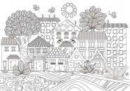 LOT DE 5 COLORIAGES GEANTS LA VILLE