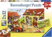 LOT 2 PUZZLES CARTONS 12 PIECES A LA FERME